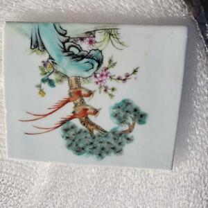 Chinese Famille Rose Hand Painted Porcelain Tile Panel Plaque Part Of Collection