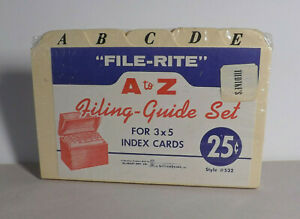 Vintage File rite 3 X 5 Cards A To Z Filing Guide Set Tiedtkes 532 Hicraft Nos