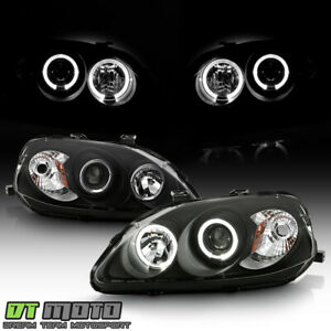 For Blk 1999 2000 Honda Civic Led Halo Projector Headlights Headlamps Left Right
