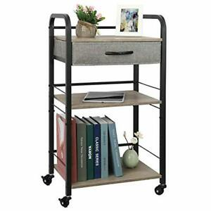 3 Tier Rolling Utility Carts With Drawer Wood Metal Roller With 5 S Hooks