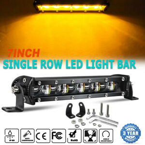 7 Inch 6 Modes Led Work Light Bar White Amp Amber Strobe Driving Offroad Tractor