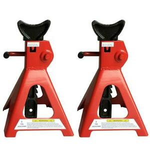 1 Pair Of 3 Ton Mechanicis Auto Car Tire Change Repair Jack Stands Red