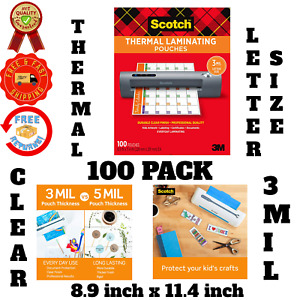 Thermal Laminating Pouches 3 Mil Thickness Letter Size Sheets Laminator 100 Pack