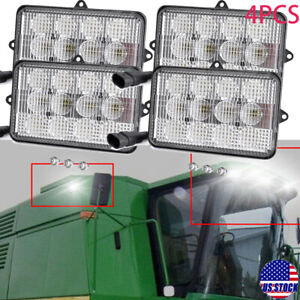 4x Led Upper Cab Light Combo For John Deere 9750sts 9760sts 9870sts 9670sts