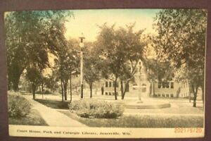 1910 Court House Park Carnegie Library Janesville Wis Divided Back Pc