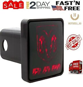 For Dodge Ram Tow Hitch Cover Receiver Trailer Plug With Led Light Brake Black