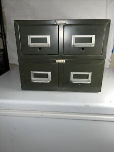 Vtg Cole Steel Two Drawer Index Card Stackable Metal File Cabinet 16 X 12 2