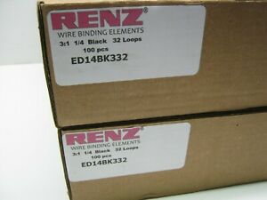 Renz Wire Binding Elements 3 1 1 4 Black 32 Loops Ed14bk332 Lot Of 2 Cases