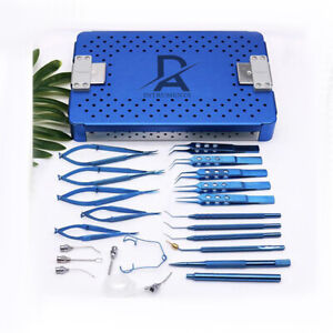 Ophthalmic Micro Surgical Instrument Set 21 Stainless Steel Titanium Alloy Micro