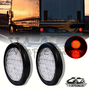 Pair 4 Inch Red 24 Led Round Stop Brake Clearance Lens Tail Light Truck Trailer