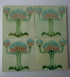Old Vintage Rare Art Majolica Ceramic Tiles Made In England 6x6 Inch 4 Pc Set