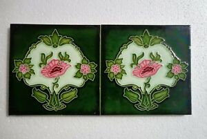 Old Vintage Rare Art Nouveau Majolica Ceramic Tiles Made In Japan 2 Pc 6x6 Inch