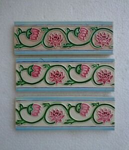 Old Vintage Collectible Rare Design Ceramic Tiles Made In Japan 6x2 Inch 3 Pc