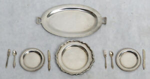 Vintage Sterling Silver Doll House Miniature Fork Spoon Knives Dishes Trays