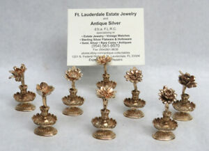Rare C 1920 S Gold Washed 8 Sterling Silver Flower Shape Place Card Holders