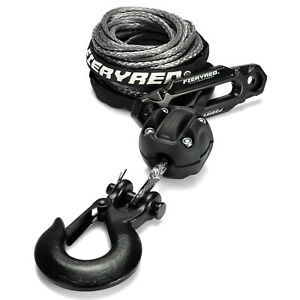 3 16 50 Synthetic Winch Rope 8200ibs Winch Cable Stopper Hook Fairlead Set
