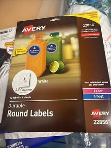 Avery Round Labels For Laser Inkjet Printers 2 5 72 Water Resistant Labels