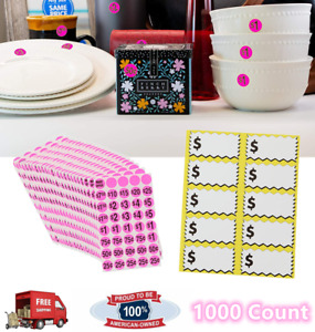 1000 Count Priced Garage Sale Stickers Pre printed Pink Label With Bland Sticker