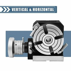 Horizontal Vertical Rotary Table 4 100mm 4 Slots For Milling Machine