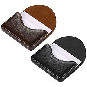 Kiniza 2 Pcs Leather Business Card Cases Pocket Cards Wallet Case For Men Wom