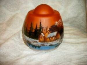 Antique Hp Glass Lamp Shade Winter Church Scene Glass Beads 5 Inch Fitter 1920s