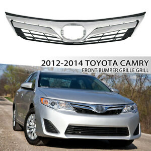 For 2012 2014 Toyota Camry Le Xle Front Bumper Chrome Trim Grille Mesh Grill
