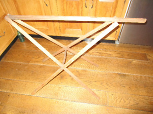 Vtg Wooden Drying Rack Folds Flat Unusual Laundry Collapsible Antique Wash Day