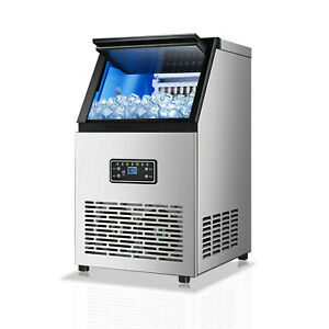 Commercial Ice Maker 90 Lbs 24h Stainless Steel Commercial Ice Machine 110v 230w