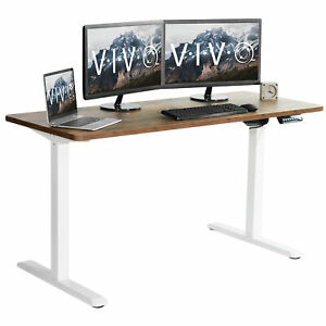 Vivo Electric 60 X 24 Stand Up Desk Vintage Brown Table Top White Frame