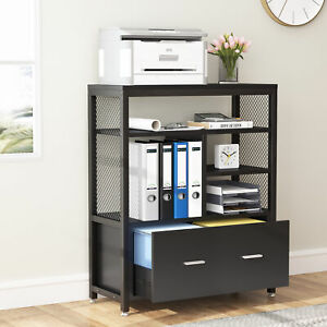 File Cabinet 2 drawer Wood Vertical Filing Cabinet Printer Stand W Open Shelves