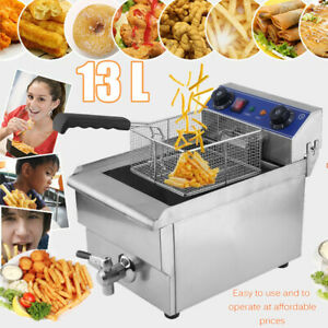 Commercial Pro Grade Thermostat Electric Deep Fryer 13 Liters Oil Capacity 1650w