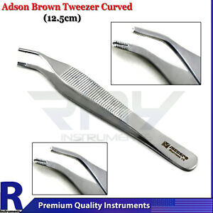 Adson Brown Tissue Forceps 4 92 Curved Angled Angular Surgical Anatomic Tweezer
