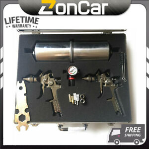2pc Hvlp Feed Air Spray Gun Kit Auto Paint Car Primer Basecoat Clearcoat Silver