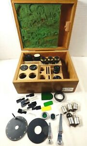 Vtg Olympus Tokyo Microscope Parts Accessories Photo Eyepieces Bulbs Wood Box