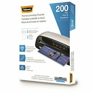 Fellowes Thermal Laminating Pouches Letter Size 9 X 11 5 inches 3 Mil 200 Pac