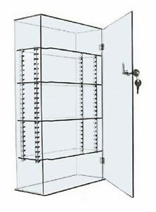 10x4x18in Acrylic Counter Display Case Locking Cabinet With Adjustable Shelves