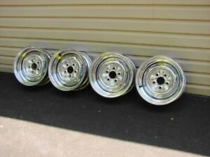 Vintage Kelsey Hayes 14x6 Chrome Reverse Wheels 5x4 5 Bc Ford Dodge Plymouth Amc