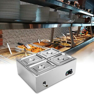Commercial Food Warmer 4 pan Steamer Stainless Steel Buffet Electric Countertop