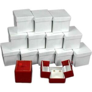 12 Red Earring Gift Boxes W snap Lids 2
