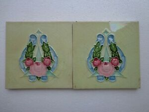 Old Vintage Rare Art Nouveau Majolica Ceramic Tiles Made In England 2 Pc Lot 6x6