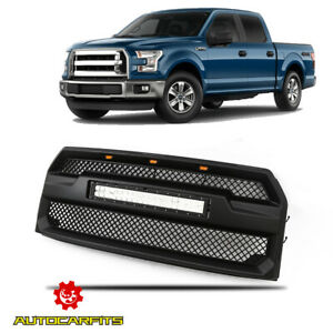 Fits 2015 2017 Ford F150 Front Upper Grille Raptor Style With Led Light Bar