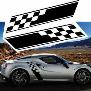 2x Racing Plaid Side Door Fender Skirt Stripes Decal Stickers For Sport Race Car Fits Honda