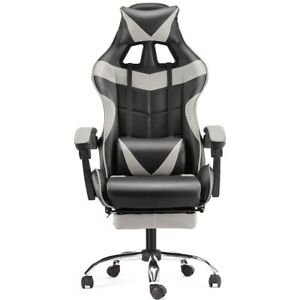 Computer Gaming Chair Swivel Highback Ergonomic Leather Racing Office Gray New