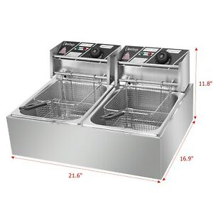 Commercial 12l 5000w Professional Electric Countertop Deep Fryer Dual Tank Stain