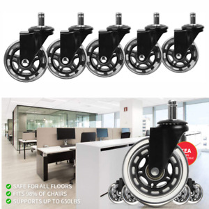 Set Of 5 3 Heavy Duty Replacement Office Chair Wheels For Carpet Wood Floor