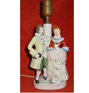 Lamp Vintage Antique Figural Ceramic Table French Regency Lovers Couple Costumes