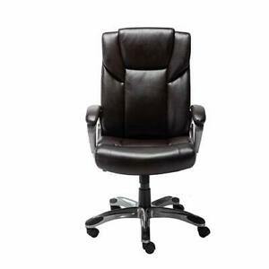 Basics High back Bonded Leather Executive Office Computer Desk Chair Brown