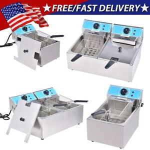 20l Electric Deep Fryer Dual Tank Stainless Steel 2 Fry Basket Commercial 4000w
