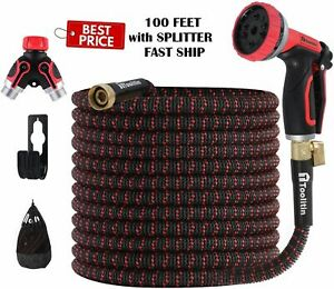 Expandable 100ft Garden Water Flexible Hose 10 Function 4layers Latex Heavy Duty