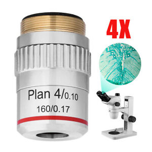 4x Plan Achromatic Microscope Objective Lens For Compound Microscopes
